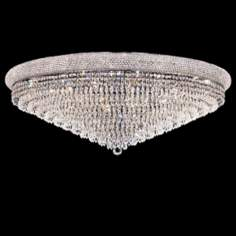 "Primo Royal Cut Crystal 42"" Wide Chrome Ceiling Light"