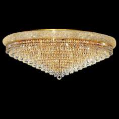 "Primo Royal 42"" Wide Cut Crystal and Gold Ceiling Light"