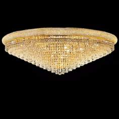 "Primo Royal Cut Crystal 48"" Wide Gold Ceiling Light"