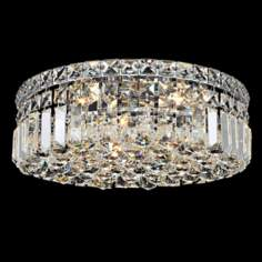 "Maxim Collection 14""W Chrome and Crystal Ceiling Light"