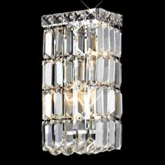 "Maxim Collection 12"" High Chrome and Crystal Wall Sconce"