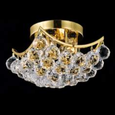 "Corona 10""W Gold Crystal Ceiling Light"