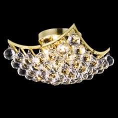 "Corona 12"" Square Gold and Crystal Ceiling Light"