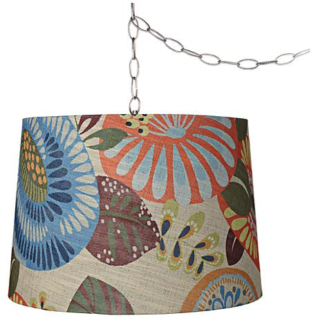 "Tropic Drum 16"" Wide Brushed Steel Plug-In Swag Chandelier"