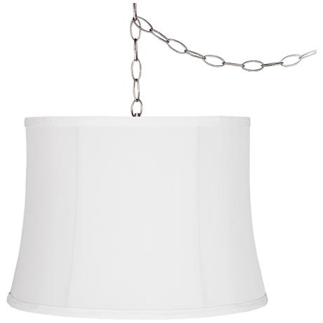 "Wavy White 16"" Wide Brushed Steel Plug-In Swag Chandelier"
