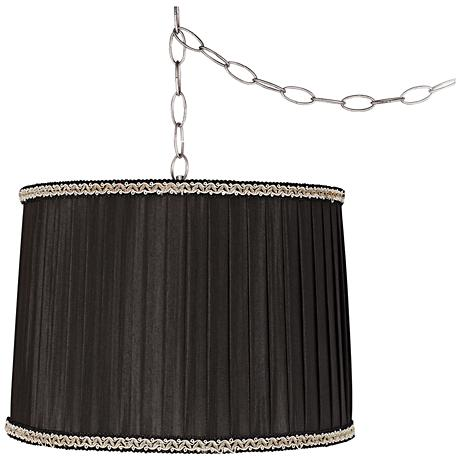 "Pleated Black Drum 14""W Steel Plug-In Swag Chandelier"