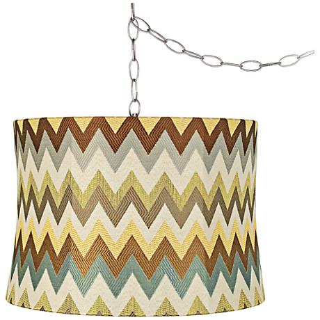"Blue and Brown Chevron 16""W Steel Plug-In Swag Chandelier"
