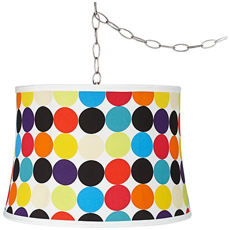 "Multi Mod Circles 16""W Steel Plug-In Swag Chandelier"