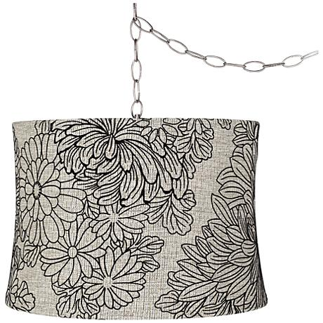 "Velveteen Chrysanthemum 16""W Steel Plug-In Swag Chandelier"