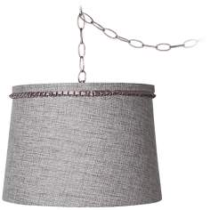 "Gray Tweed 14"" Wide Brushed Steel Plug-In Chandelier"