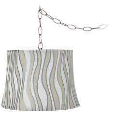 "Curved Stripes 12"" Wide Brushed Steel Plug-In Chandelier"