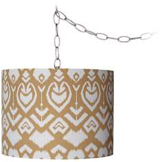 "Tan Ikat 12"" Wide Brushed Steel Plug-In Chandelier"