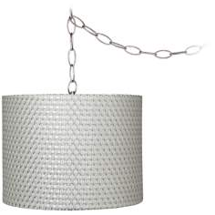 "Silver Weave 11"" Wide Brushed Steel Plug-In Chandelier"