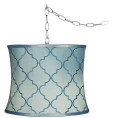 "Blue Moroccan Tile 11 1/2"" Wide Brushed Steel Chandelier"