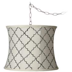 "Cream Moroccan Tile 11 1/2"" Wide Brushed Steel Chandelier"