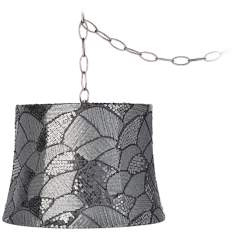 "Gray Sequins 12"" Wide Brushed Steel Plug-In Chandelier"