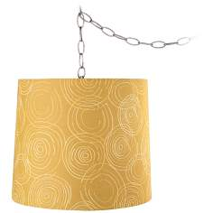 "Golden Swirls 13"" Wide Brushed Steel Plug-In Chandelier"