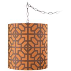"Geometric Orange 11 1/2"" Wide Brushed Steel Chandelier"
