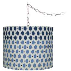 "Blue Dots 11 1/2"" Wide Brushed Steel Plug-In Chandelier"