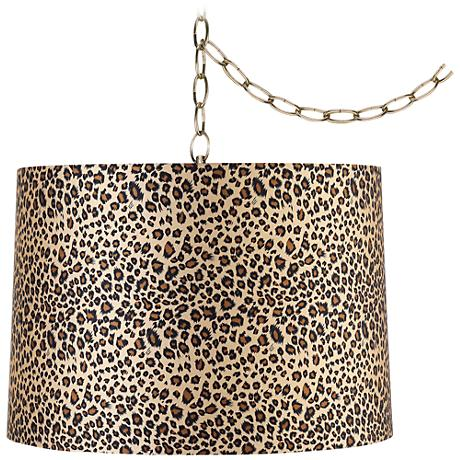 "Leopard Print 16"" Wide Antique Brass Plug-In Swag Chandelier"