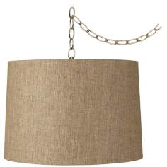 "Tan Weave 12"" Wide Antique Brass Plug-In Chandelier"