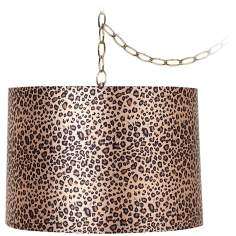 "Leopard Print 12"" Wide Antique Brass Plug-In Chandelier"