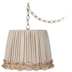 "Ribbon Shirred 12"" Wide Antique Brass Plug-In Chandelier"
