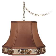"Bronze Trim 15"" Wide Antique Brass Plug-In Chandelier"