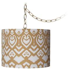 "Tan Ikat 12"" Wide Antique Brass Plug-In Chandelier"