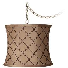 "Brown Moroccan Tile 12""-WAntique Brass Plug-In Chandelier"
