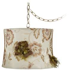 "Ivory Embroidered 14"" Wide Antique Brass Plug-In Chandelier"