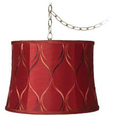 "Embroidered Merlot 12"" Wide Antique Brass Plug-In Chandelier"