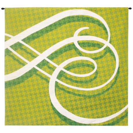 "Lime Flourish 53"" Wide Wall Tapestry with Hanging Rod"