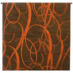 "Serif Copper 52"" Square Wall Tapestry with Hanging Rod"