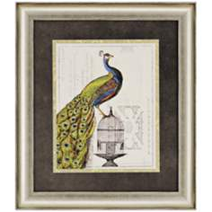 "Peacock Birdcage II 32"" High Framed Wall Art"