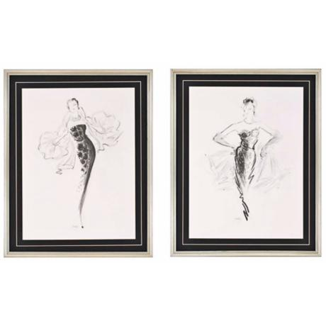 "Tiffany/Grace Set of 2 30"" High Contemporary Wall Art"