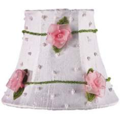 Pink Floral and White Silk Shade 3x5x4.25 (Clip-On)