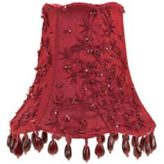 Red Embroidered Silk Shade 3x5x4.25 (Clip-On)