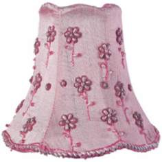 Embroided Pink Floral Beaded Shade 2.75x5x4.75 (Clip-On)