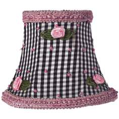 Black Checkered Silk Shade with Rosebuds 3x5x4.25 (Clip-On)