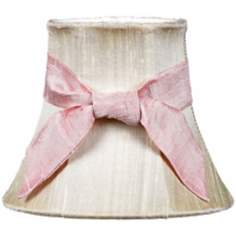 Ivory Silk Shade with Pink Sash 3x5x4.25 (Clip-On)