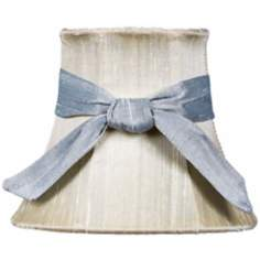 Ivory Silk Shade with Blue Sash 3x5x4.25 (Clip-On)