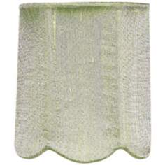 Modern Green Scallop Silk Drum Shade 4x4x4.75 (Clip-On)
