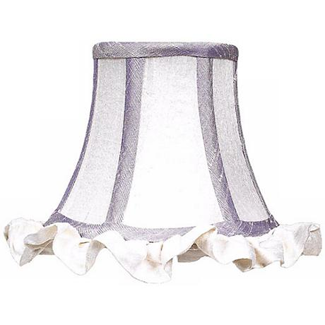 White Silk Shade with Ruffled Trim 3x5x4.25 (Clip-On)