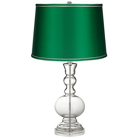 Clear Fillable - Satin Emerald Shade Apothecary Lamp