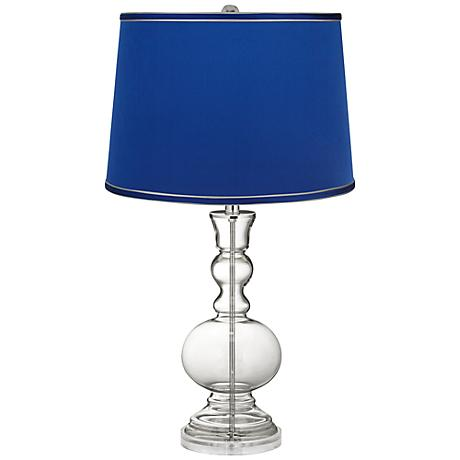 Clear Fillable - Satin Dark Blue Shade Apothecary Lamp