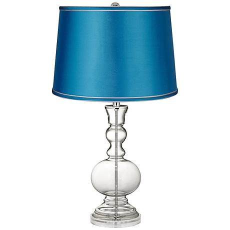 Clear Fillable - Satin Turquoise Shade Apothecary Lamp