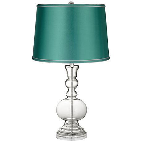 Clear Fillable - Satin Sea Green Shade Apothecary Lamp