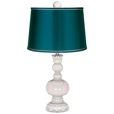 Smart White Apothecary Lamp-Finial and Satin Teal Shade