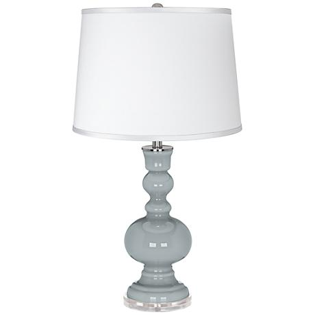 Uncertain Gray - Satin Silver White Shade Table Lamp